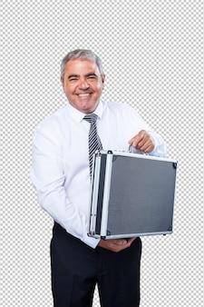 スーツケースを持って成熟した男