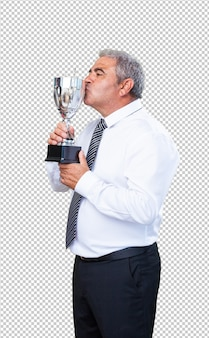 Mature man proud of his trophy