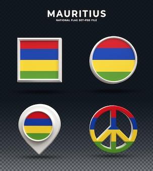 Кнопка купола 3d рендеринга флаг маврикия и на глянцевой основе