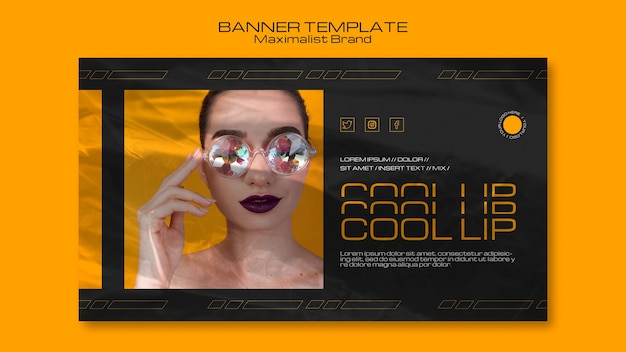 Maximalist brand cool up banner template
