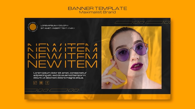 Maximalist brand new item banner template Free Psd