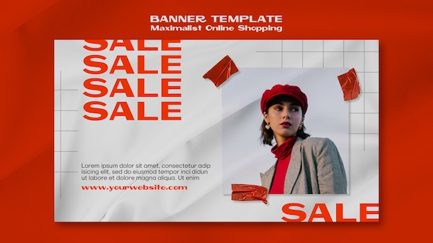 Maximalist online shopping banner template