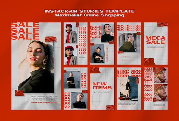 Maximalist online shopping instagram stories template