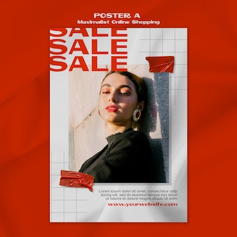 Maximalist online shopping poster template