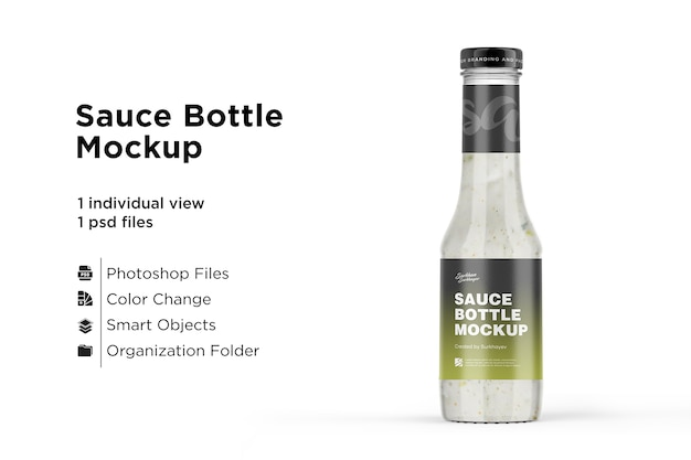 Mayonnaise glass bottle mockup