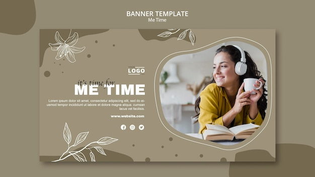 Me time banner template concept