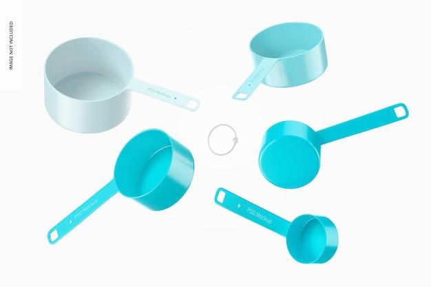Measuring cups set mockup, floating