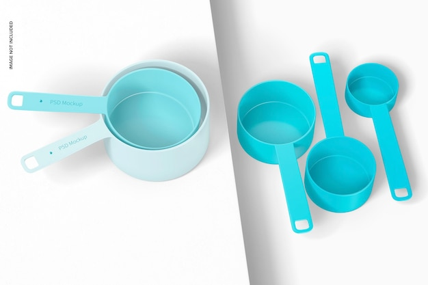 Measuring cups set mockup, perspective view