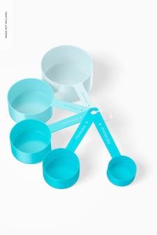 Measuring cups set mockup, top view