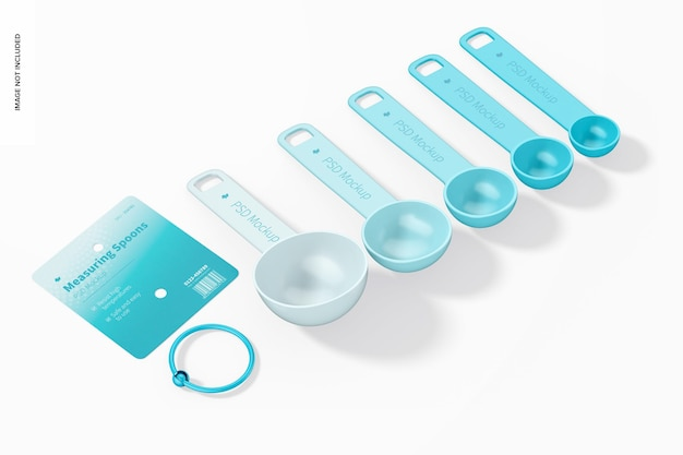 Measuring spoons set mockup, perspective view