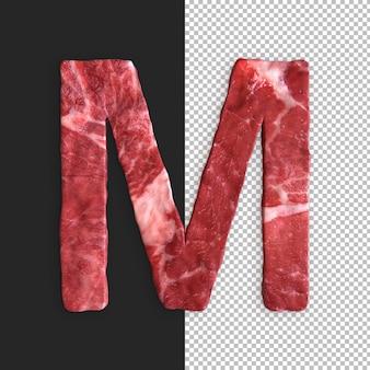 Alfabeto di carne su sfondo nero, lettera m.