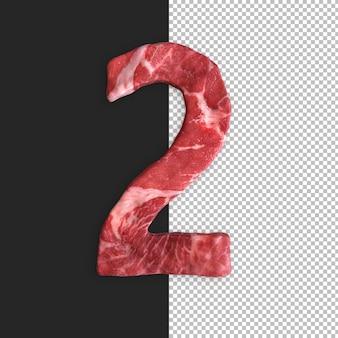 Meat alphabet on black background, number 2