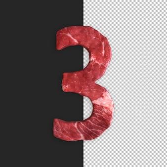 Meat alphabet on black background, number 3