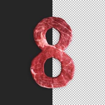 Meat alphabet on black background, number 8