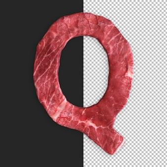 黒の背景に肉のアルファベット、文字q