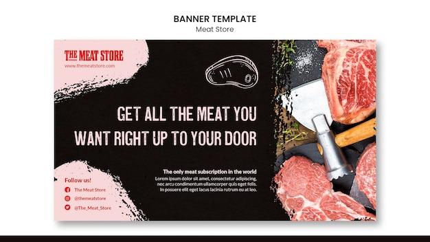 Modello di banner concetto di negozio di carne