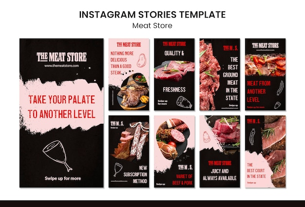Meat store concept instagram stories template