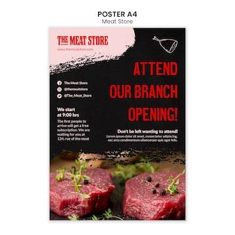Modello di poster di concetto di negozio di carne
