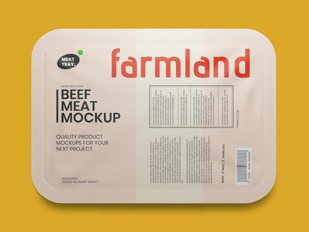 Modello di mockup per l'imballaggio del vassoio di carne