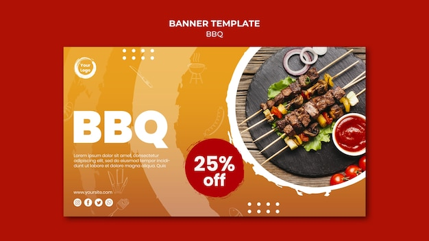 Meat and veggies skewers banner template