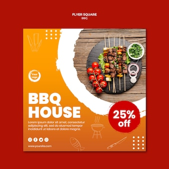 Meat and veggies skewers square flyer template