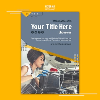 Mechanic assistance flyer template