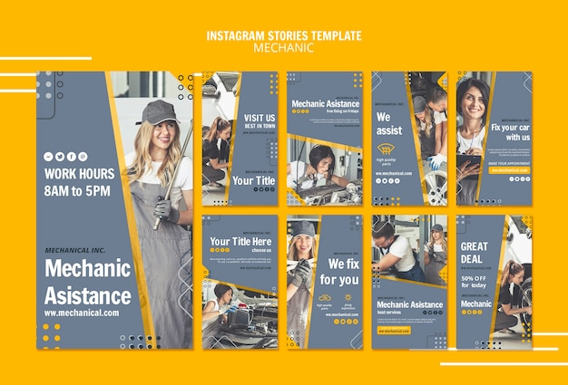 Mechanic assistance instagram stories template