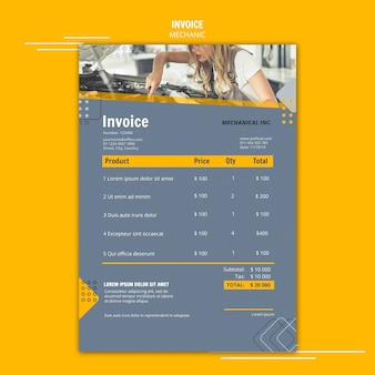 Mechanic assistance invoice template