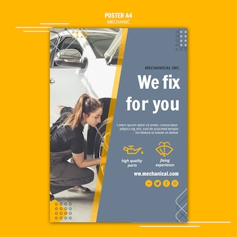 Mechanic assistance poster template