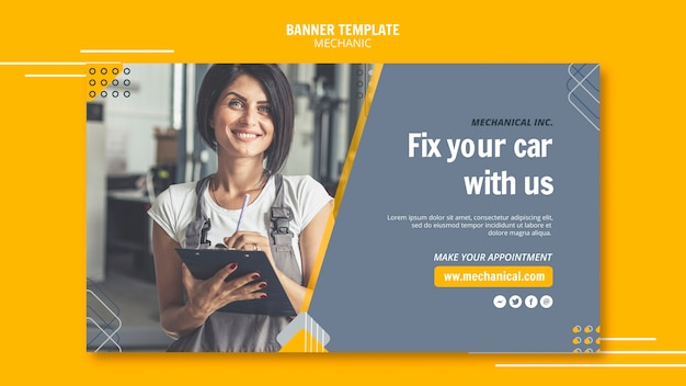 Mechanic assistance with female worker banner template