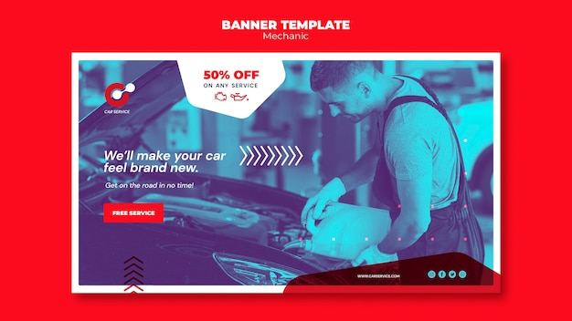 Mechanic banner template design