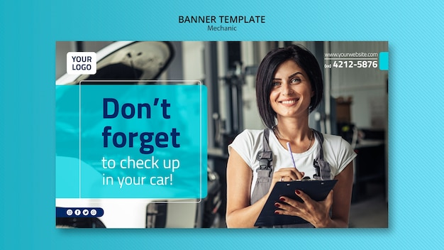 Mechanic banner template with photo of young woman