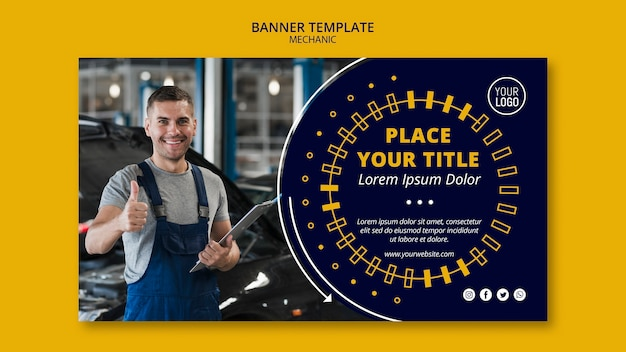 Mechanic business man with thumbs up banner