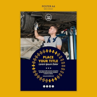 Mechanic business man working poster