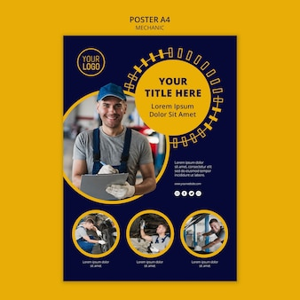 Mechanic business poster template and man