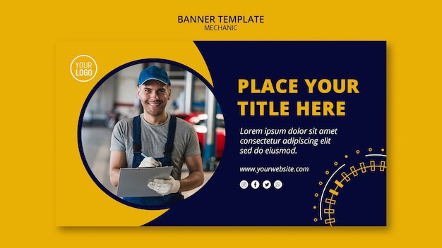 Mechanic business with man banner template