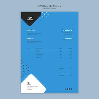 Mechanic concept invoice stationery template