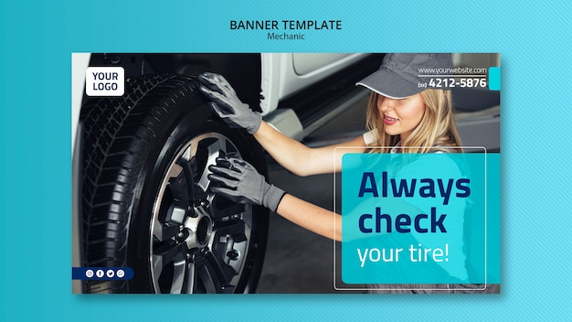 Mechanic horizontal banner template with photo