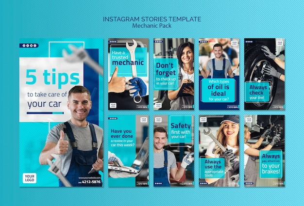Mechanic instagram stories template with photo
