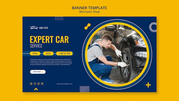 Mechanic shop banner template