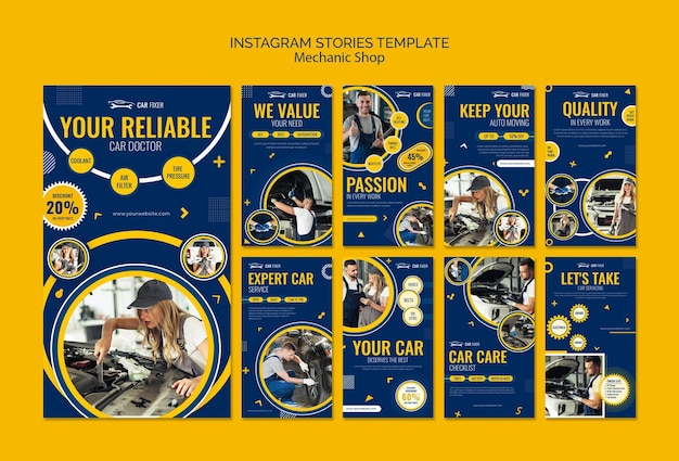 Mechanic shop instagram stories template
