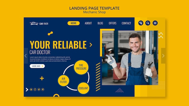 Mechanic shop template landing page