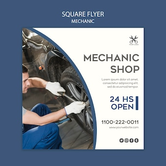 Mechanic template square flyer
