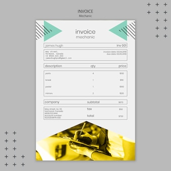 Mechanic theme for invoice template