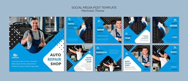 Mechanic worker in showroom social media post