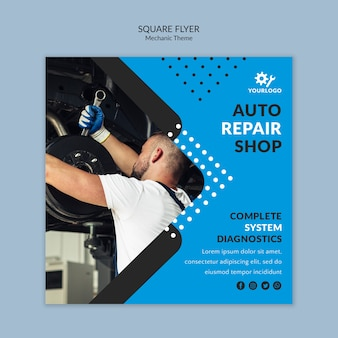Mechanic worker in showroom square flyer template