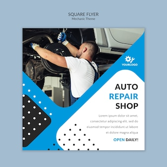 Mechanic worker in showroom square flyer
