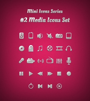 Media icons in silver colour and with emboss
