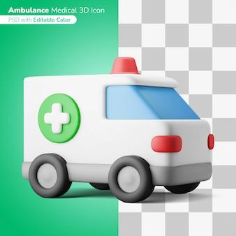 Медицинская машина скорой помощи 3d иллюстрация 3d значок редактируемый цвет изолированный