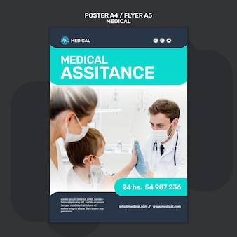 Medical assistance poster template
